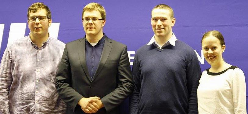 v.l.n.r.: Steffen Gloe (Schatzmeister), Ole Plambeck (Kreisvorsitzender), Stefan Nawrath und Merle Lauff (beide stellv. Kreisvorsitzende)